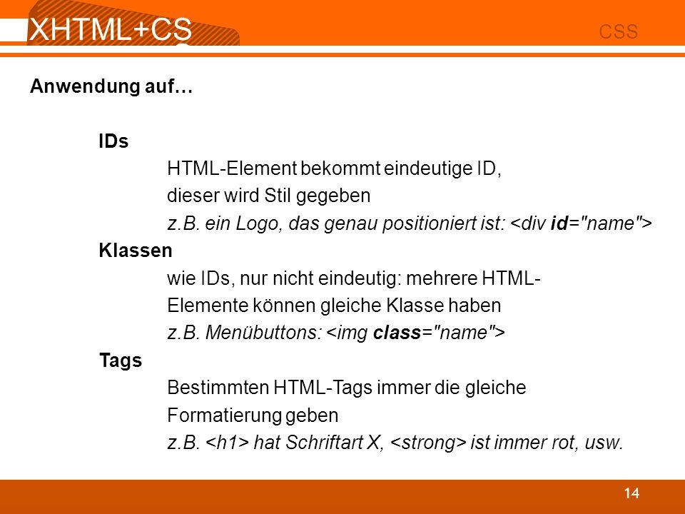 XHTML+CSS CSS Anwendung auf… IDs HTML-Element bekommt eindeutige ID,