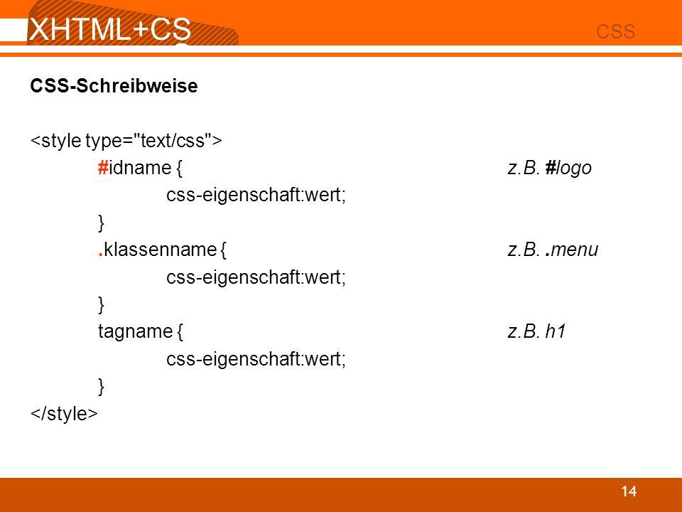 XHTML+CSS CSS CSS-Schreibweise <style type= text/css >