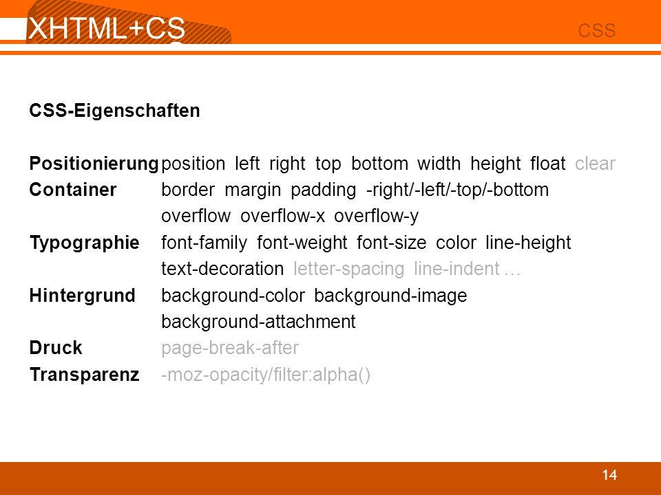XHTML+CSS CSS CSS-Eigenschaften