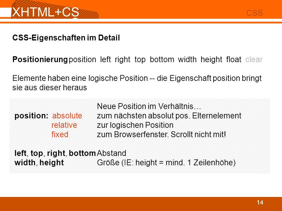 XHTML+CSS CSS CSS-Eigenschaften im Detail
