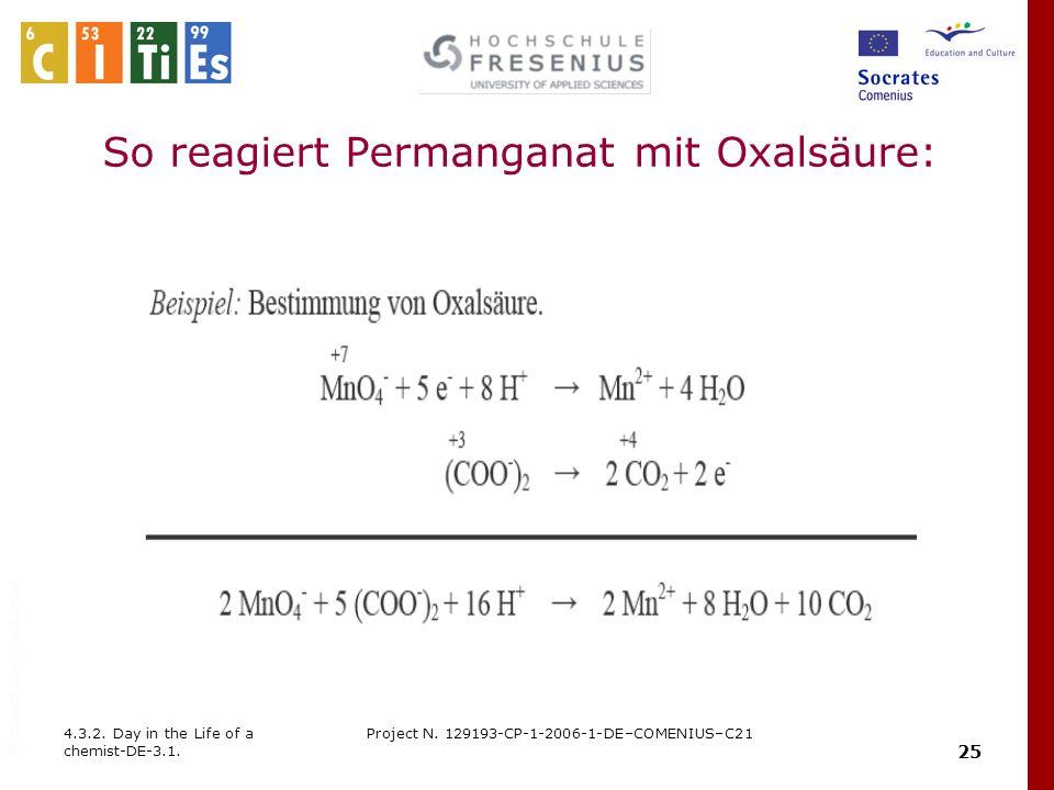 So reagiert Permanganat mit Oxalsäure: