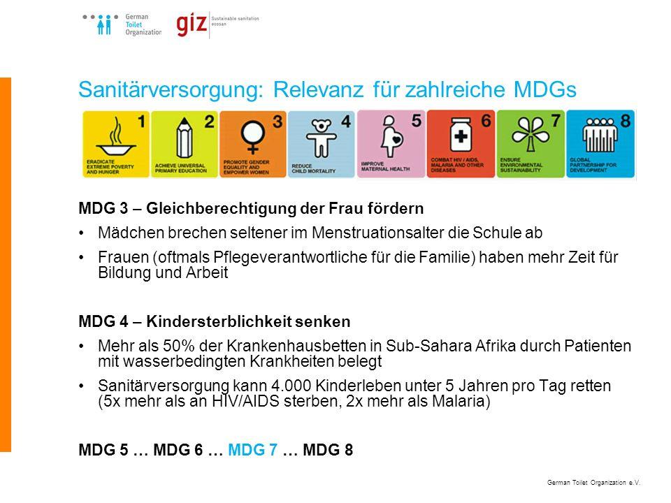 Sanitärversorgung: Relevanz für zahlreiche MDGs