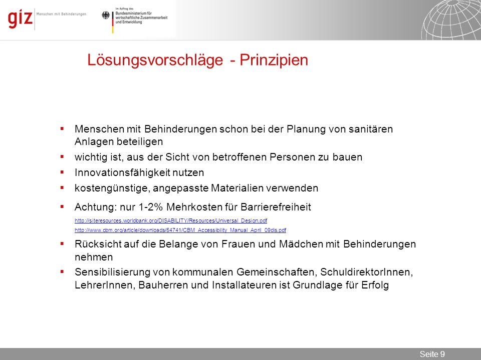 Lösungsvorschläge - Prinzipien