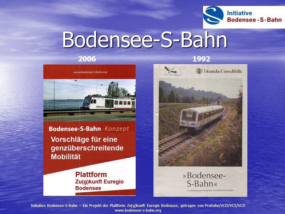 Bodensee-S-Bahn 2006. 1992. Initiative Bodensee-S-Bahn – Ein Projekt der Plattform Zu(g)kunft Euregio Bodensee, getragen von ProBahn/VCD/VCS/VCÖ.
