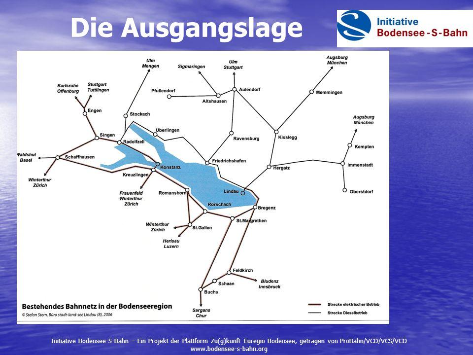 Die Ausgangslage Initiative Bodensee-S-Bahn – Ein Projekt der Plattform Zu(g)kunft Euregio Bodensee, getragen von ProBahn/VCD/VCS/VCÖ.