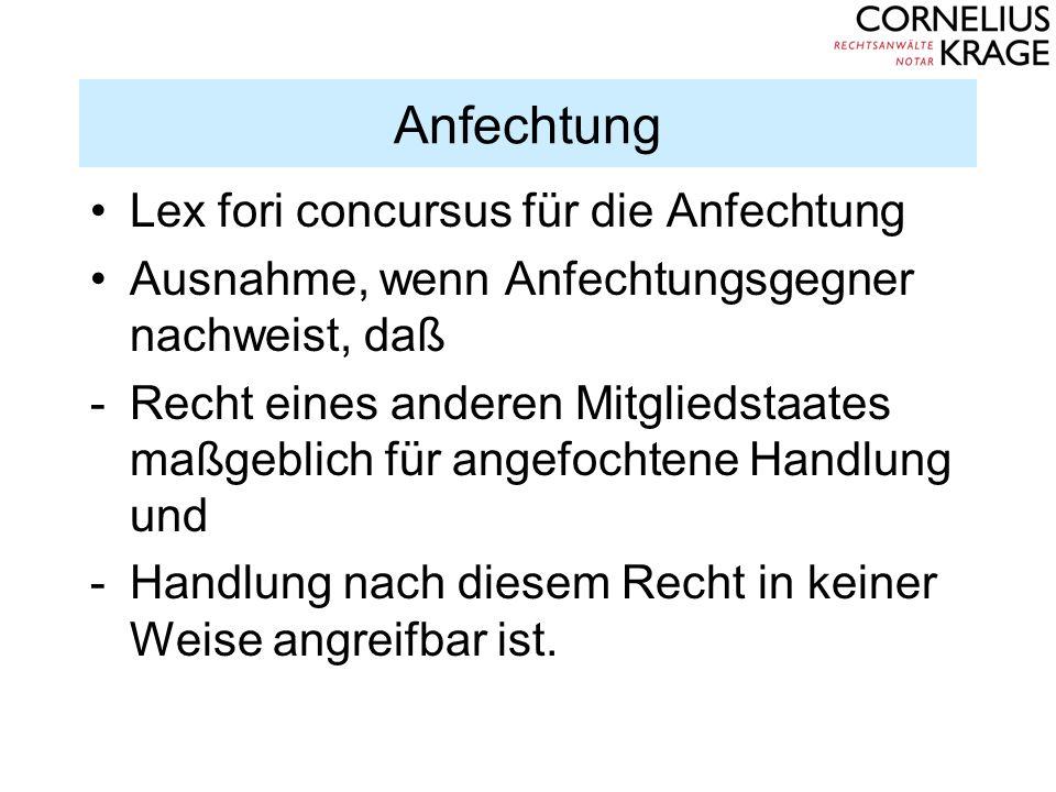 Anfechtung Lex fori concursus für die Anfechtung