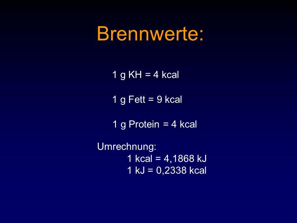 Brennwerte: 1 g KH = 4 kcal 1 g Fett = 9 kcal 1 g Protein = 4 kcal