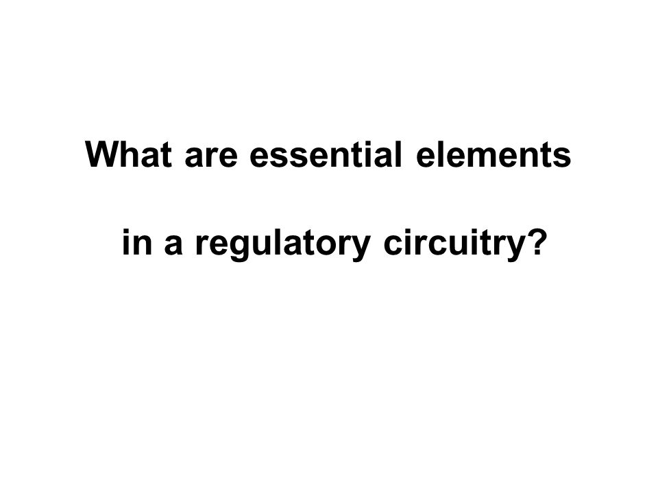 What are essential elements in a regulatory circuitry
