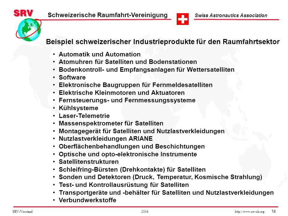 Beispiel schweizerischer Industrieprodukte für den Raumfahrtsektor