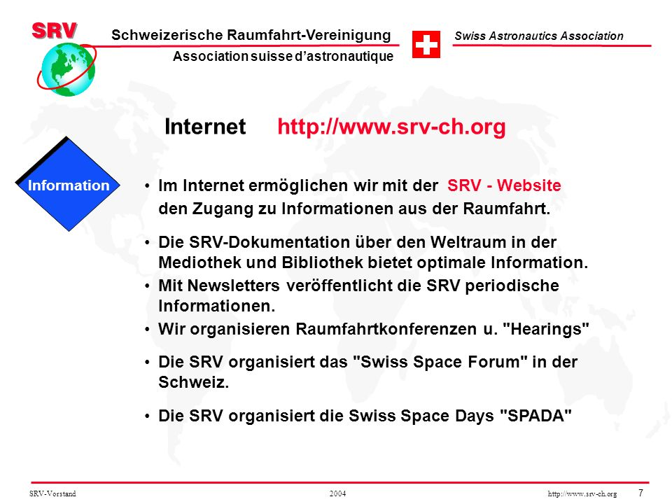 Association suisse d'astronautique Internet http://www.srv-ch.org