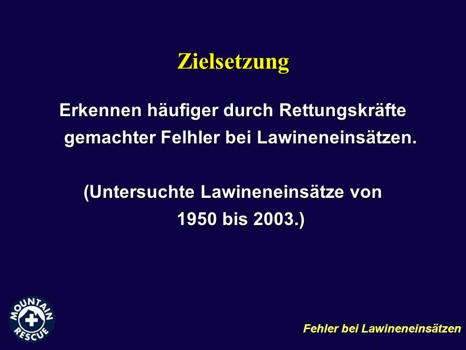 (Untersuchte Lawineneinsätze von 1950 bis 2003.)