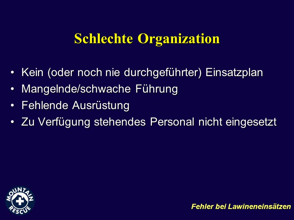 Schlechte Organization