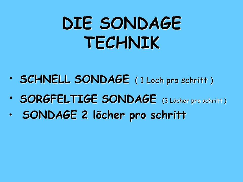 DIE SONDAGE TECHNIK SCHNELL SONDAGE ( 1 Loch pro schritt )