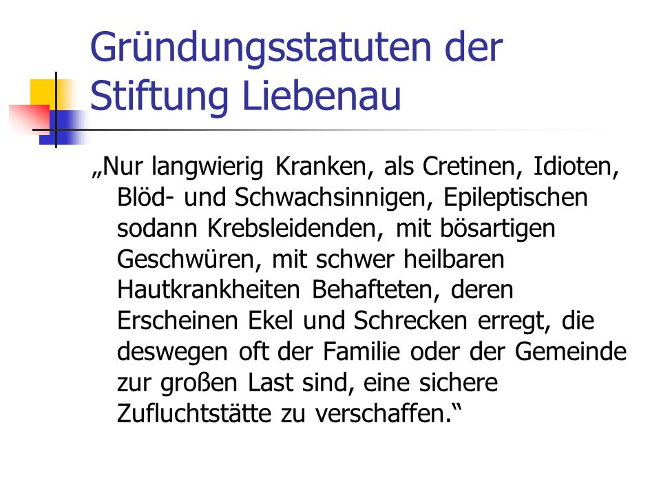 Gründungsstatuten der Stiftung Liebenau