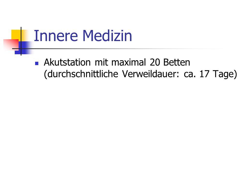 Innere Medizin Akutstation mit maximal 20 Betten (durchschnittliche Verweildauer: ca. 17 Tage)