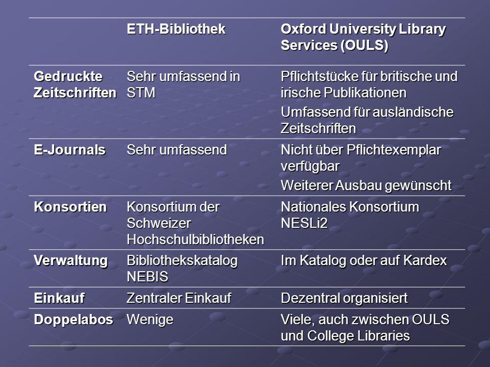 ETH-Bibliothek Oxford University Library Services (OULS) Gedruckte Zeitschriften. Sehr umfassend in STM.