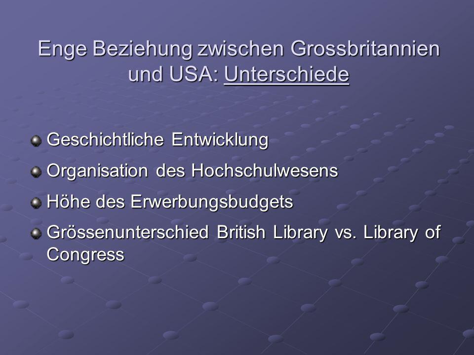 Enge Beziehung zwischen Grossbritannien und USA: Unterschiede