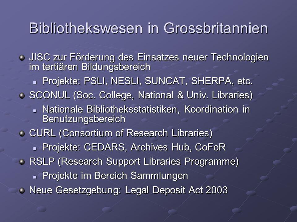 Bibliothekswesen in Grossbritannien