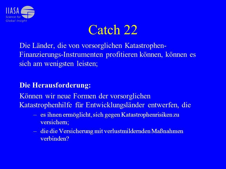 Catch 22 Die Länder, die von vorsorglichen Katastrophen-Finanzierungs-Instrumenten profitieren können, können es sich am wenigsten leisten;