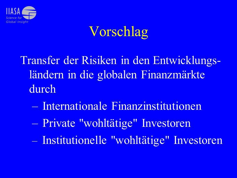 Vorschlag Transfer der Risiken in den Entwicklungs-ländern in die globalen Finanzmärkte durch. Internationale Finanzinstitutionen.