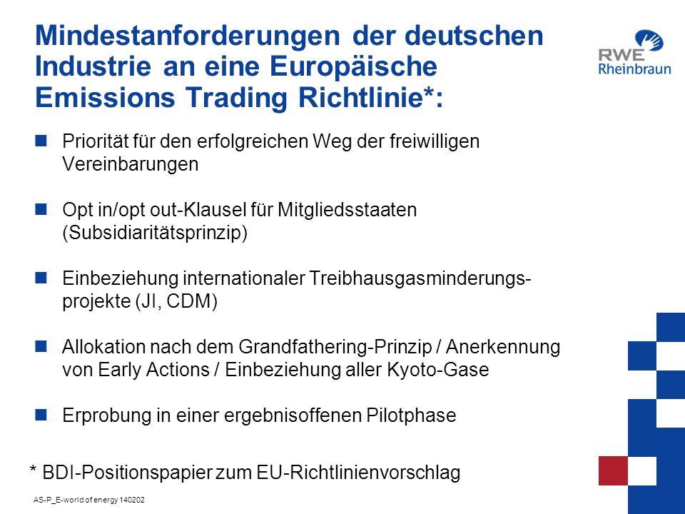 Mindestanforderungen der deutschen Industrie an eine Europäische Emissions Trading Richtlinie*: