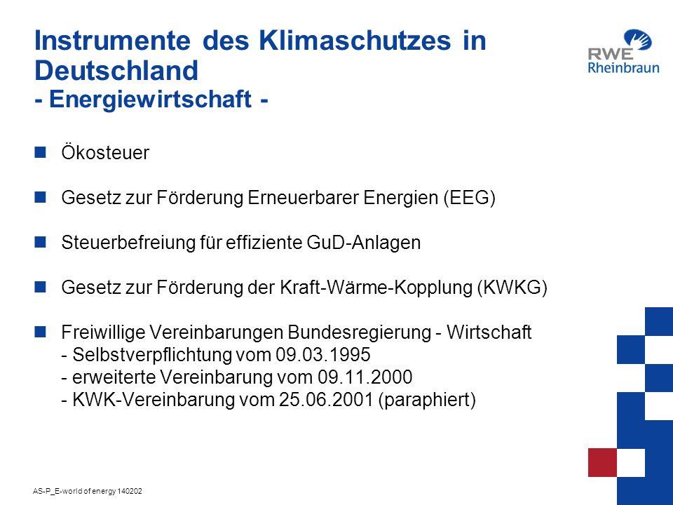 Instrumente des Klimaschutzes in Deutschland - Energiewirtschaft -