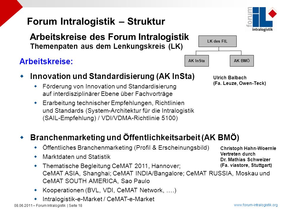 Arbeitskreise des Forum Intralogistik