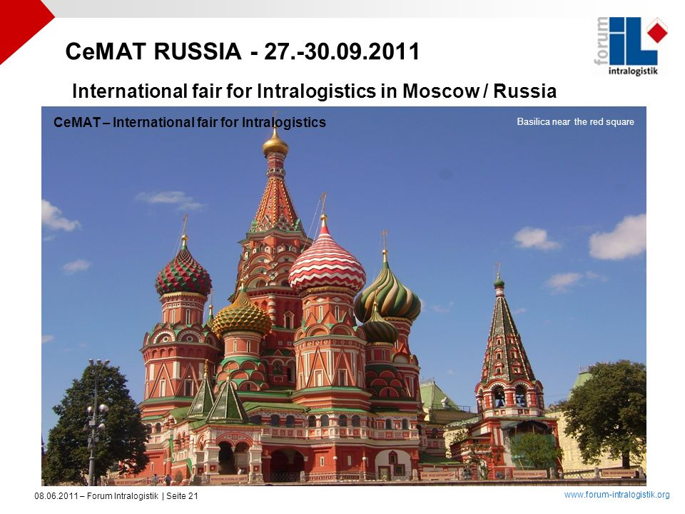 CeMAT RUSSIA - 27.-30.09.2011 International fair for Intralogistics in Moscow / Russia. CeMAT – International fair for Intralogistics.