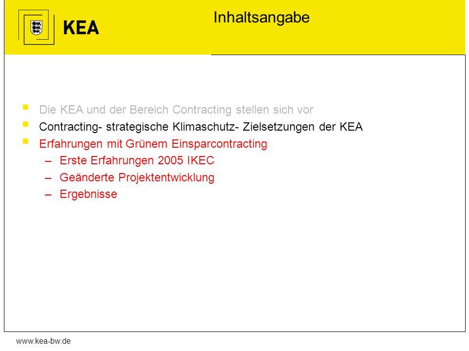 Inhaltsangabe Die KEA und der Bereich Contracting stellen sich vor
