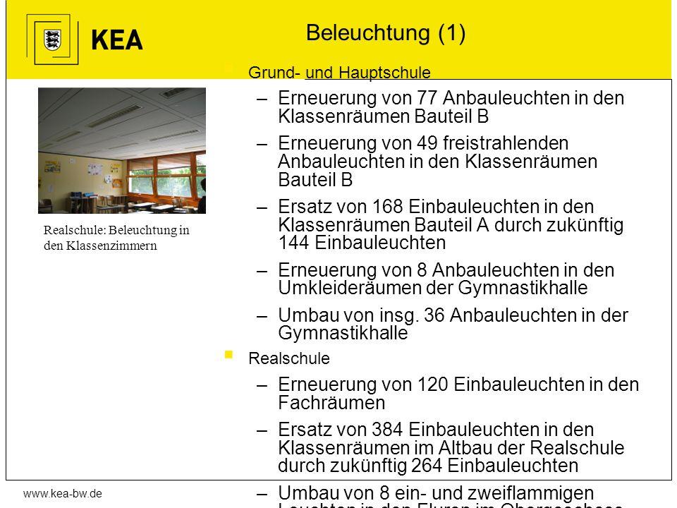 Beleuchtung (1) Grund- und Hauptschule. Erneuerung von 77 Anbauleuchten in den Klassenräumen Bauteil B.