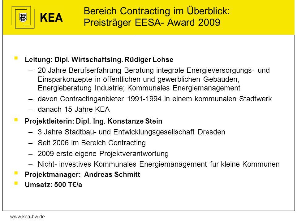 Bereich Contracting im Überblick: Preisträger EESA- Award 2009