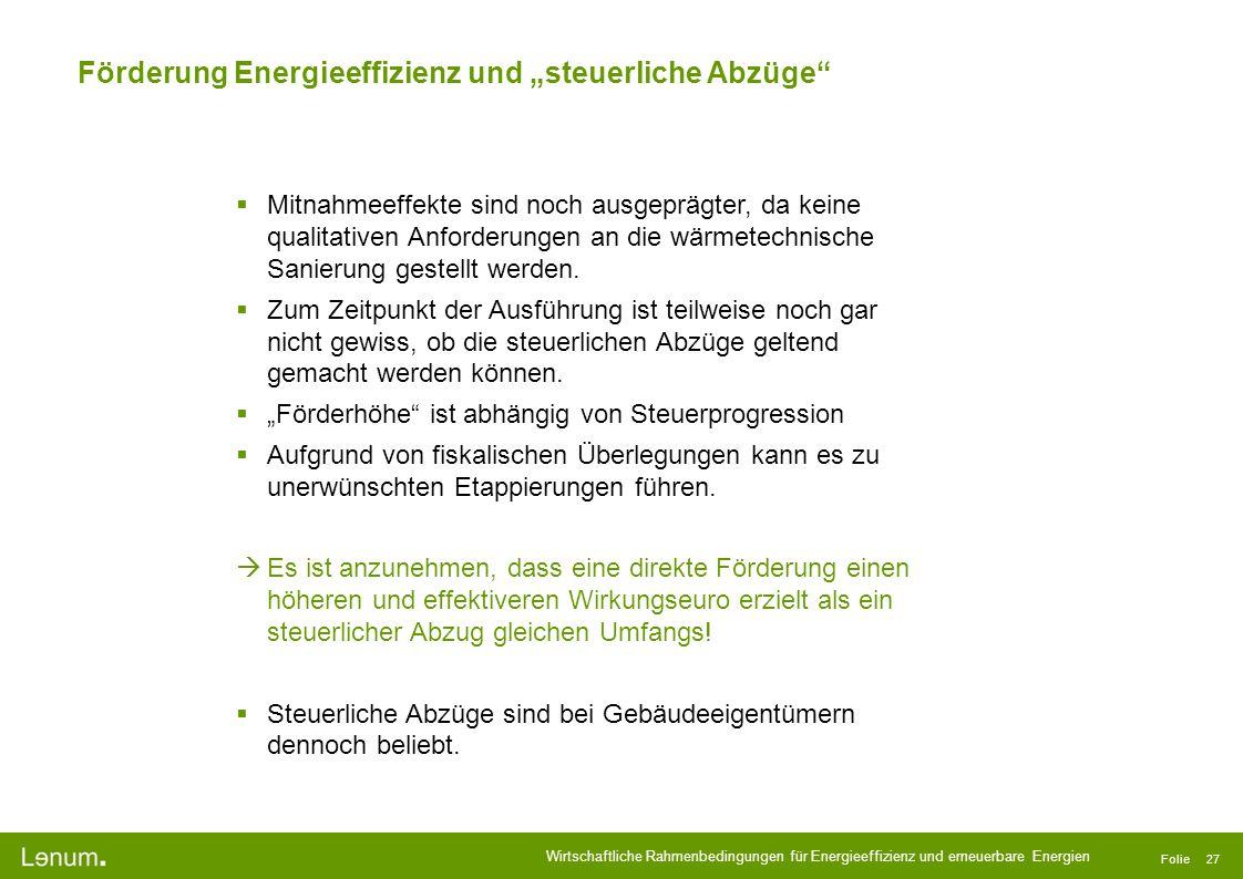 """Förderung Energieeffizienz und """"steuerliche Abzüge"""