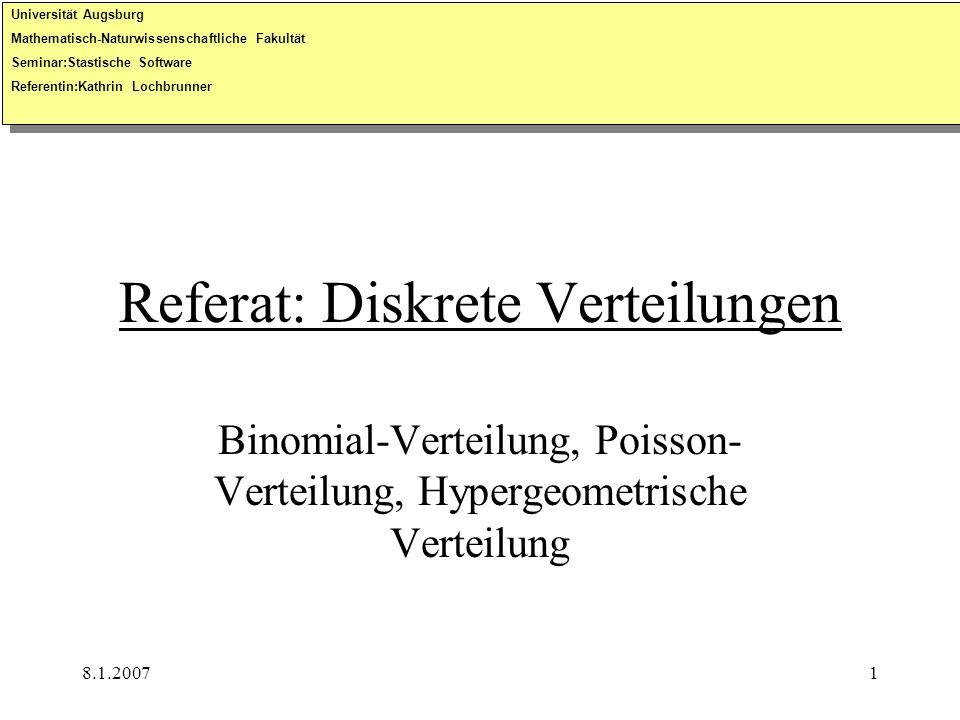 Referat: Diskrete Verteilungen