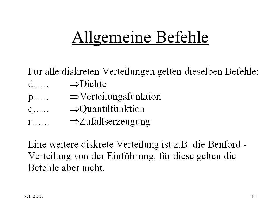 Allgemeine Befehle 8.1.2007