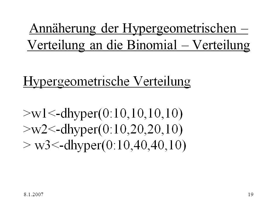 Annäherung der Hypergeometrischen – Verteilung an die Binomial – Verteilung