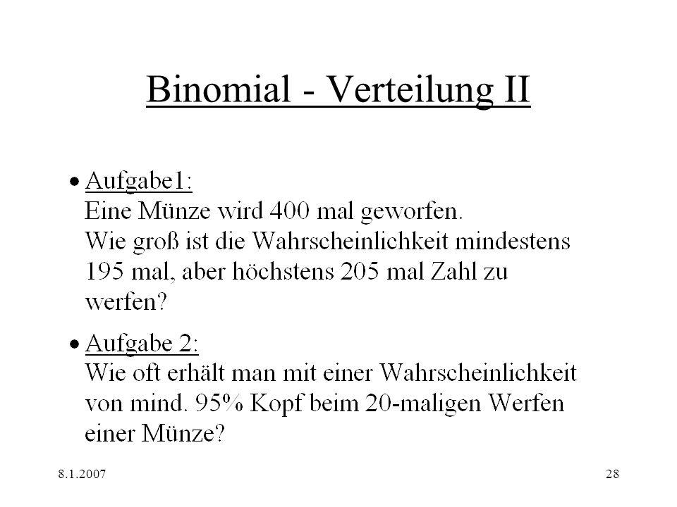Binomial - Verteilung II