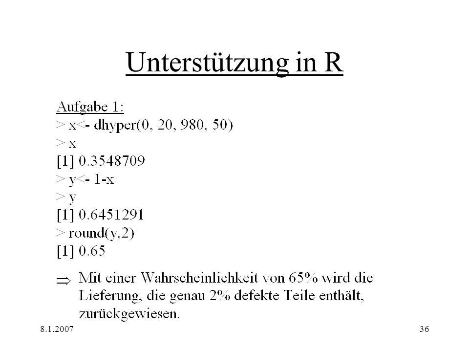 Unterstützung in R 8.1.2007