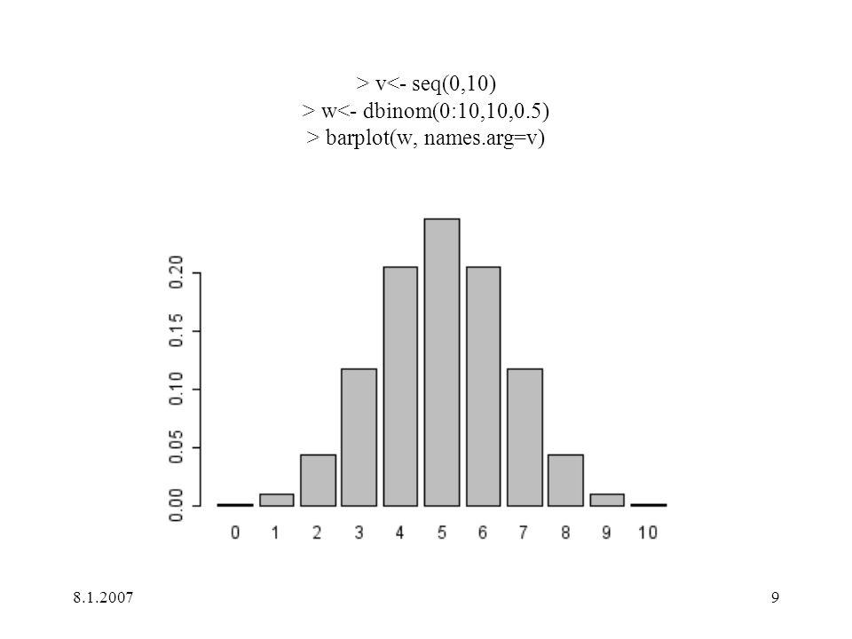 > v<- seq(0,10) > w<- dbinom(0:10,10,0
