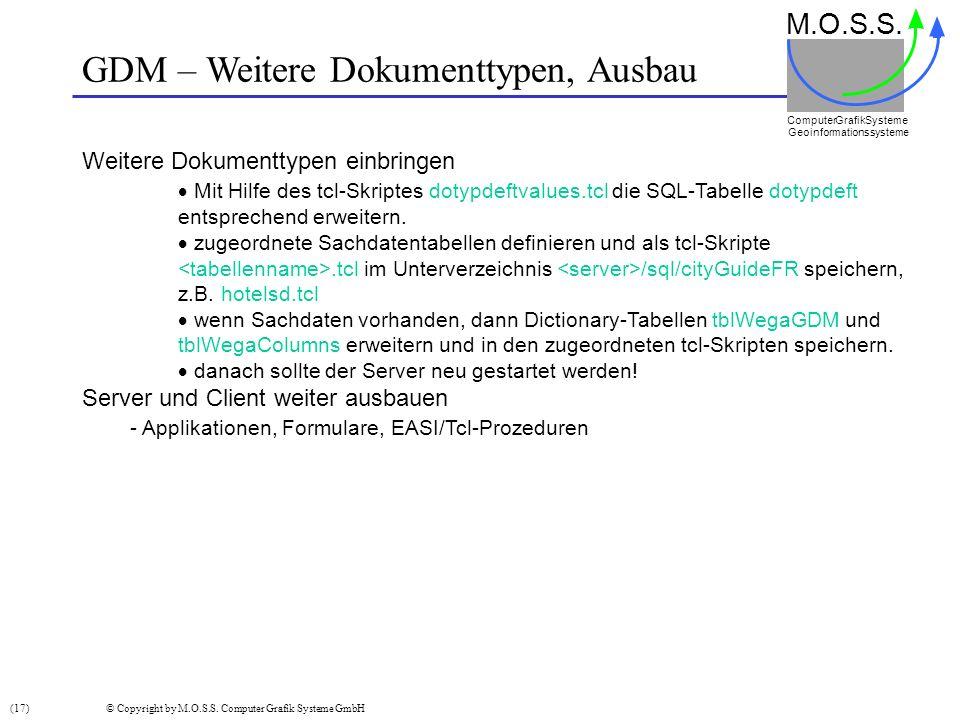 GDM – Weitere Dokumenttypen, Ausbau
