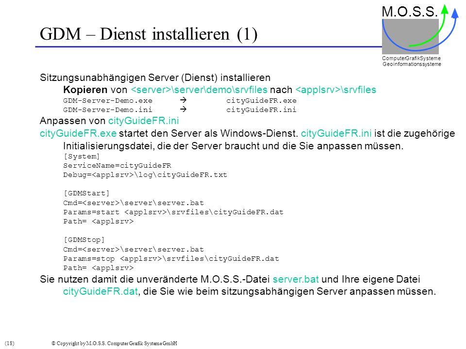 GDM – Dienst installieren (1)