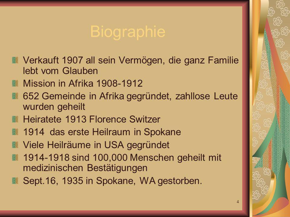 BiographieVerkauft 1907 all sein Vermögen, die ganz Familie lebt vom Glauben. Mission in Afrika 1908-1912.