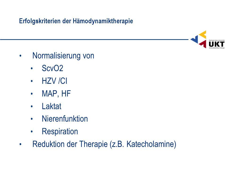 Erfolgskriterien der Hämodynamiktherapie
