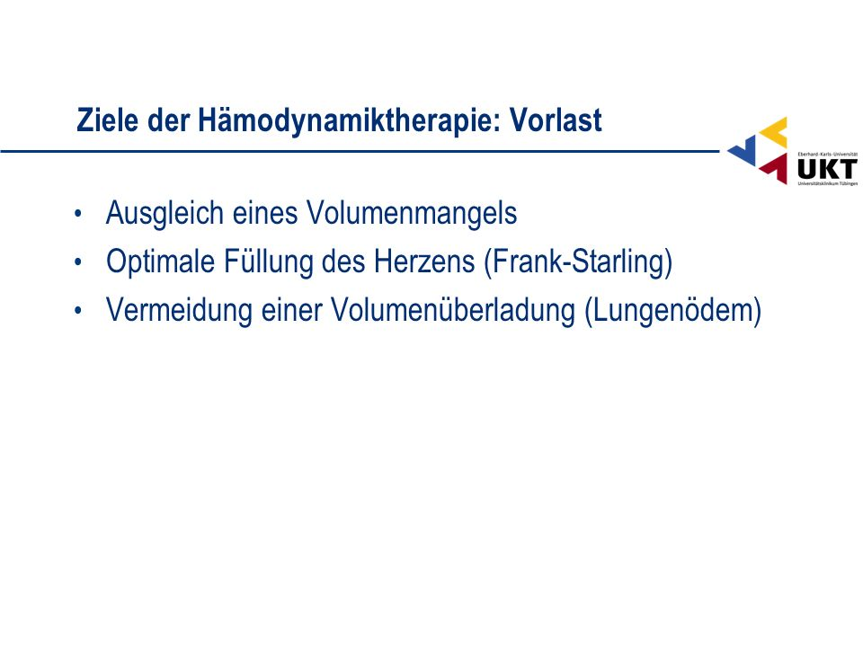 Ziele der Hämodynamiktherapie: Vorlast