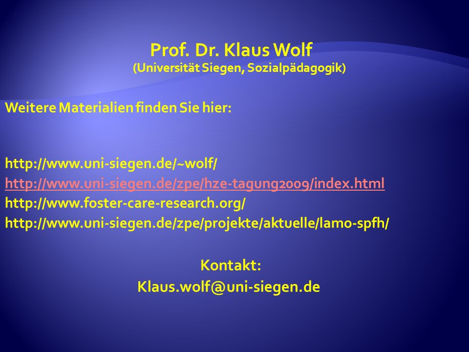 Prof. Dr. Klaus Wolf (Universität Siegen, Sozialpädagogik)
