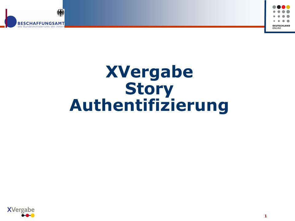 XVergabe Story Authentifizierung