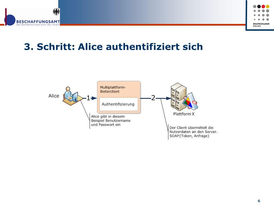 3. Schritt: Alice authentifiziert sich