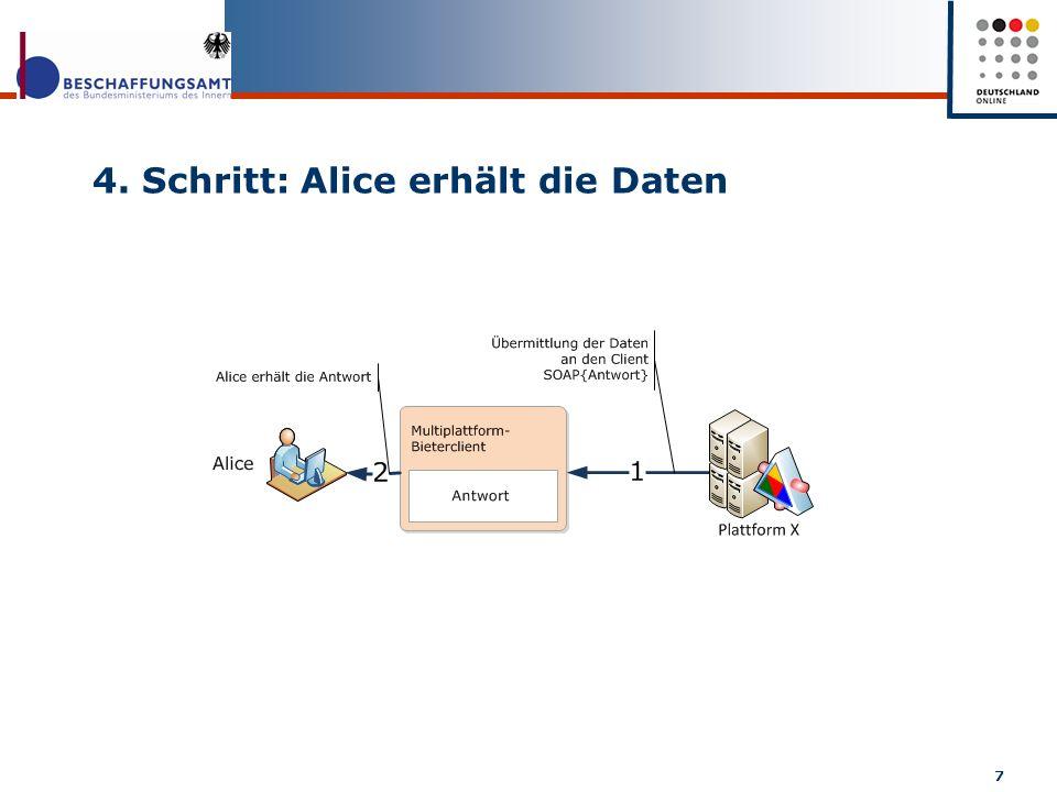 4. Schritt: Alice erhält die Daten