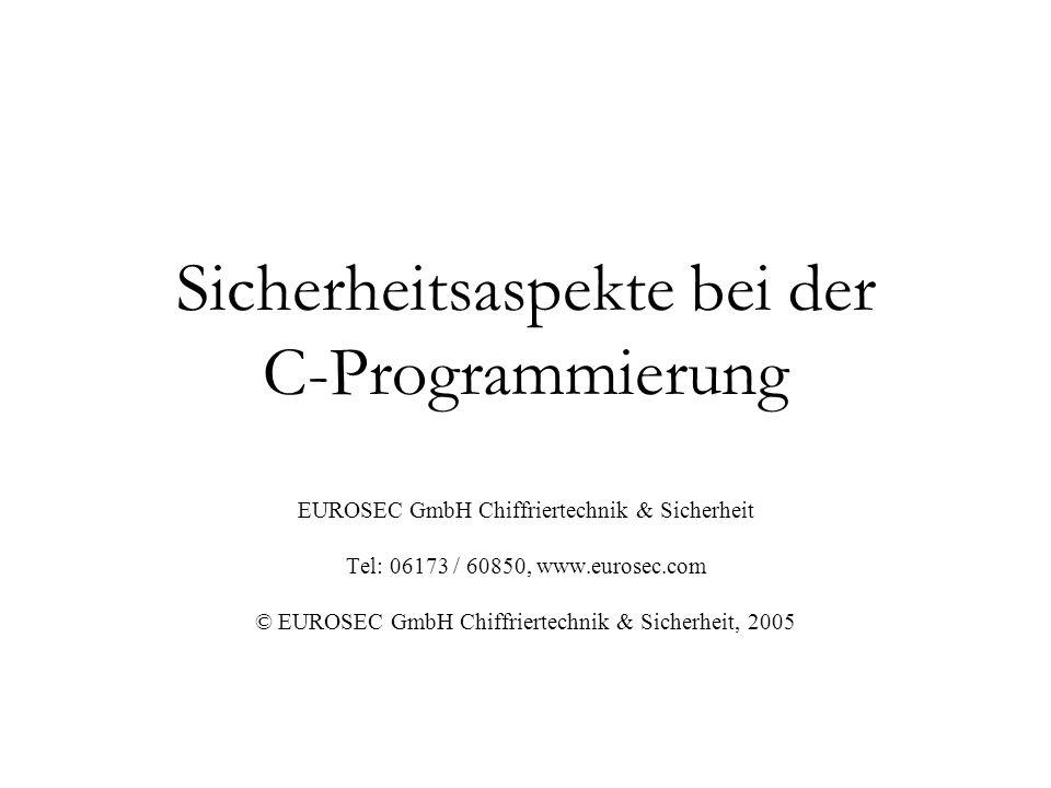 Sicherheitsaspekte bei der C-Programmierung