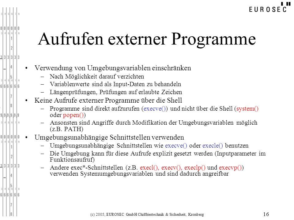 Aufrufen externer Programme