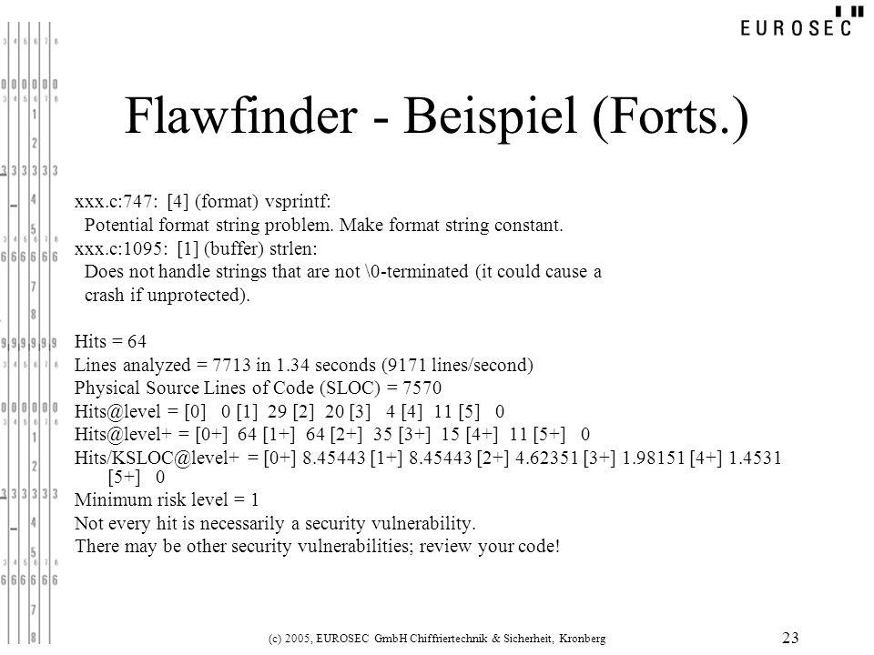 Flawfinder - Beispiel (Forts.)